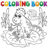 Coloring book fairy tale frog Stock Photos
