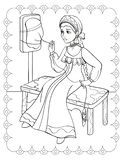 Coloring Book Of Fairy Tale Girl Spins Yarn stock photography