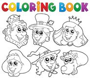 Coloring book fairy tale portraits Stock Photos