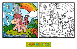 Coloring book, fairy unicorn and rainbow Royalty Free Stock Images