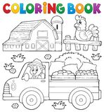 Coloring book with farm truck. Eps10 vector illustration Stock Photos