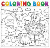 Coloring book farmer with harvest 2 Royalty Free Stock Photo