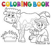 Coloring book farmer milking cow Stock Photos