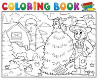 Coloring book farmer near farmhouse 1. Eps10 vector illustration Stock Photography