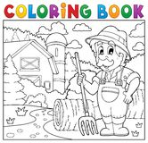 Coloring book farmer near farmhouse 2. Eps10 vector illustration Royalty Free Stock Image