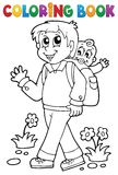 Coloring book father with child 1 Stock Photography