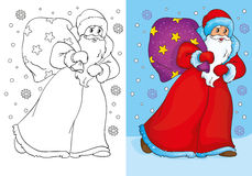 Coloring Book Of Father Frost Walking With Bag Stock Image