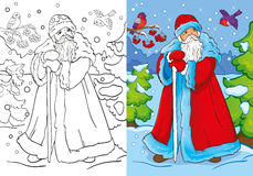 Coloring Book Of Father Frost Walking In Forest. Vector illustration of Santa Claus or Father Frost walking in the forest for coloring page for kids Stock Photo