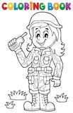 Coloring book female soldier theme 1 Royalty Free Stock Photography