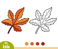 Coloring book, Fig tree leaf. Coloring book for children, Fig tree leaf Royalty Free Stock Photography