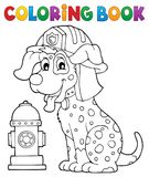 Coloring book firefighter dog theme 1. Eps10 vector illustration Royalty Free Stock Images