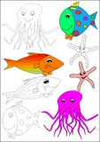 Coloring book-fish. Fish octopus star ocean color water royalty free illustration