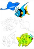Coloring book-fish Stock Photography