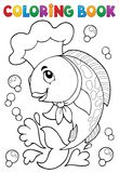 Coloring book with fish chef Royalty Free Stock Images