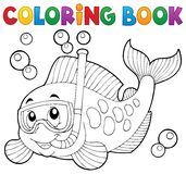 Coloring book fish snorkel diver Royalty Free Stock Images