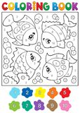 Coloring book with fish theme 3 Stock Images