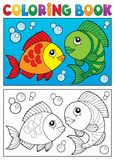 Coloring book with fish theme 5 Royalty Free Stock Photo