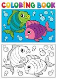 Coloring book with fish theme 6 Royalty Free Stock Images