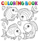 Coloring book with fish theme 4 Stock Image