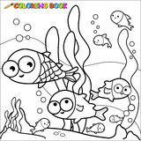 Coloring book fish underwater