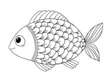 Coloring book with fish Stock Photo