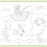 Coloring book with fisherman Royalty Free Stock Images