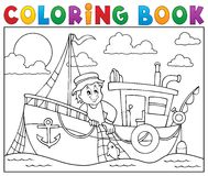 Coloring book with fishing boat theme 1. Eps10 vector illustration Royalty Free Stock Photo