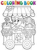 Coloring book flower shop theme 1