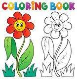 Coloring book with flower theme 3 Stock Images