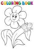 Coloring book flower topic 4 Royalty Free Stock Photos