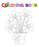 Coloring Book Flowerpot with flowers and ribbon Stock Image