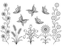 Coloring book - flowers and butterflies Stock Photo