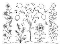 Coloring book - flowers and butterflies Stock Photography