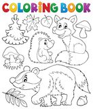 Coloring book forest wildlife theme 1. Eps10 vector illustration Stock Images