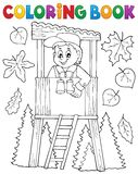 Coloring book forester theme 1 Stock Photos