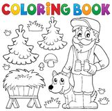 Coloring book forester theme 2 Royalty Free Stock Photos