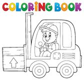 Coloring book fork lift truck theme 1 Royalty Free Stock Image