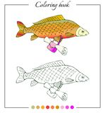 Coloring book with fresh water fish carp with bag Royalty Free Stock Images