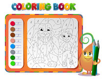 Coloring book about friendship with a boy dog Royalty Free Stock Photos