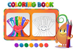 Coloring book about friendship day Royalty Free Stock Photos