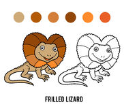 Coloring book, Frilled lizard Stock Images