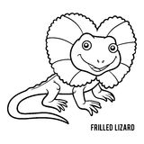 Coloring book, Frilled lizard Stock Image
