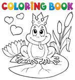 Coloring book frog with crown royalty free stock images