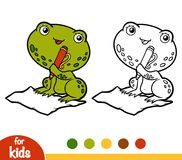 Coloring book, Frog and a paper. Coloring book for children, Frog and a paper Royalty Free Stock Images