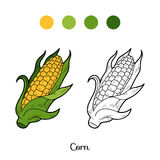 Coloring Book: Fruits And Vegetables (corn) Royalty Free Stock Photo