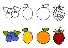 Coloring book with fruits, coloring for kids royalty free illustration