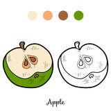 Coloring book: fruits and vegetables (apple) Stock Images