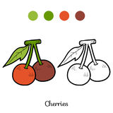 Coloring book: fruits and vegetables (cherry) Royalty Free Stock Photography