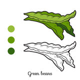 Coloring book: fruits and vegetables (green beans) Stock Image