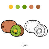 Coloring book: fruits and vegetables (kiwi) Stock Images